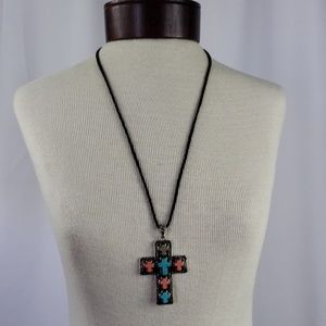 Large Cross Pendant on Leather Strapping